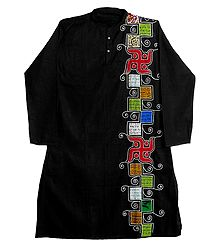 Appliqued Black Cotton Kurta for Men