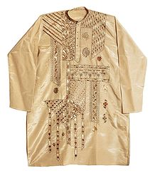 Embroidery on Beige Art Silk Kurta for Men