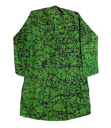 Green Batik Cotton Kurta for Men