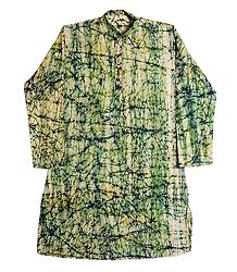 Off-White with Olive Green Batik Mens Cotton Kurta
