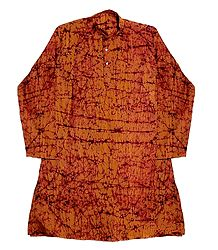 Mens Saffron Batik Cotton Kurta