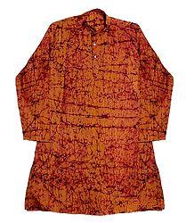 Saffron Batik Cotton Kurta