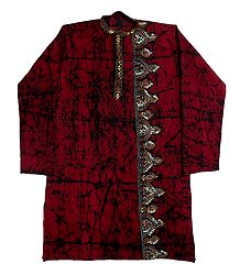 Kantha Stitched Mens Red Batik Cotton Kurta