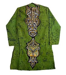 Olive Green Batik on Mens Cotton Kurta