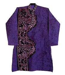 Batik on Dark Mauve Mens Cotton Kurta