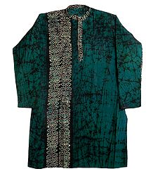 Black Batik on Dark Cyan Mens Cotton Kurta