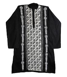 Kantha Stitch Black Cotton Kurta for Men