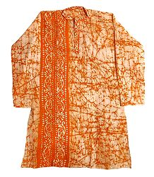 Light Saffron Batik on Off-White Mens Cotton Kurta