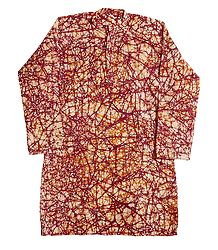 Red and Yellow Batik on Off-White Cotton Kurta
