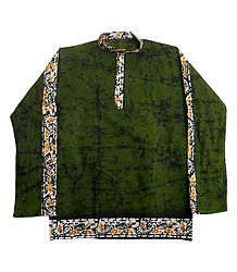 Mens Green Batik Short Kurta