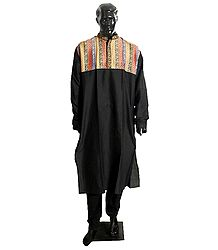 Black Designer Embroidered Kurta and Black Churidar