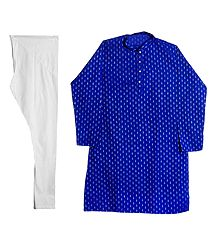 Blue Cotton Kurta with White Churidar