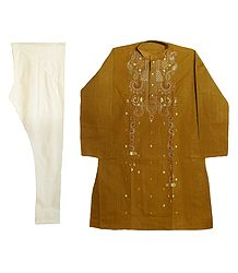 Yellow Embroidered Kurta with Off-White Churidar