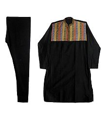 Black Embroidered Kurta and Churidar for Men