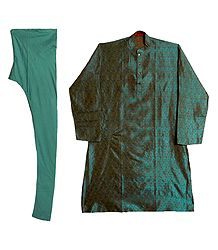 Cyan Blue Cotton Silk Kurta and Churidar for Men