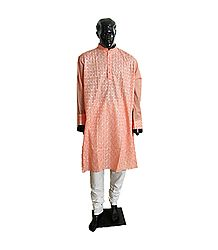 Peach Embroidered Mens Kurta and White Churidar