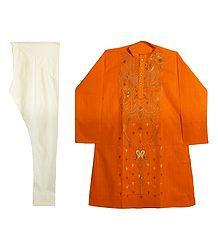 Embroidered Saffron Kurta with Off-White Churidar