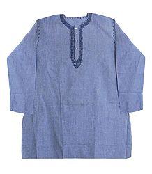 Blue Cotton Kurta with Neckline Embroidery