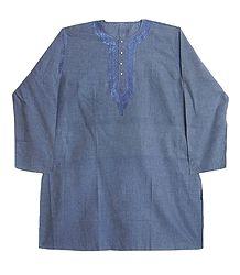 Mens Cotton Kurta with Neckline Embroidery