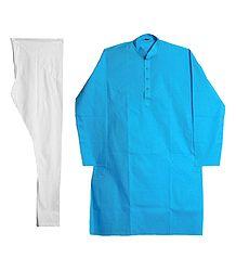 Cyan Blue Kurta and White Pyjama
