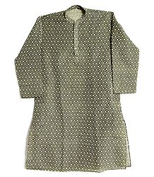Black with Off White Weaved Design Kurta