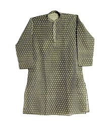 Black with Off White Weaved Design Kurta for Men