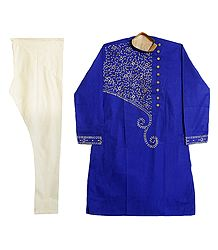 Embroidered Blue Kurta with Off-White Churidar