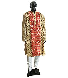Mens Embroidered Tussar Kurta and White Churidar