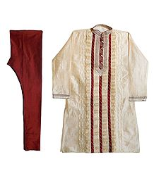 Embroidered Off-White Kurta with Maroon Churidar