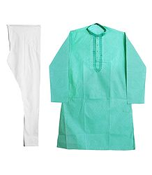 Embroidered Cyan Kurta with White Churidar