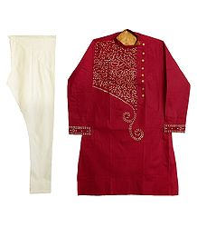 Embroidered Dark Red Kurta with Off-White Churidar