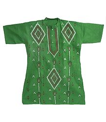 Mens Green Short Kurta with Kantha Stitch