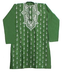 Kantha Embroidery on Green Kurta