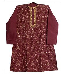 Embroidered Mens Maroon Kurta