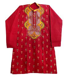 Red Cotton Kurta with Kantha Embroidery