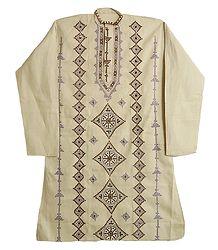 Gujrati Embroidery on Beige Kurta