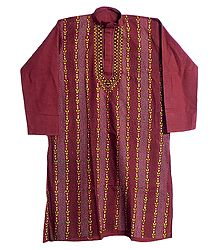 Red Cotton Kantha Stitch Kurta - Size L