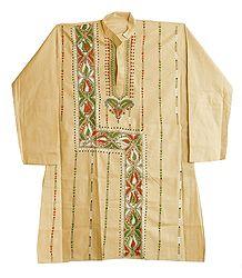 Kantha Stitch Embroidery on Beige Kurta