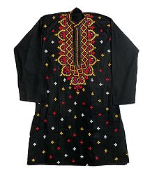 Gujrati Embroidery on Black Kurta
