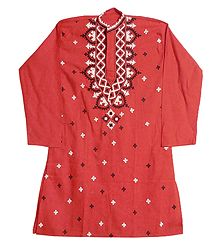 Gujrati Embroidery on Dark Brick Red Kurta