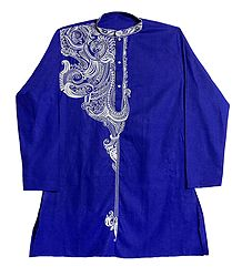 Embroidered Blue Cotton Kurta