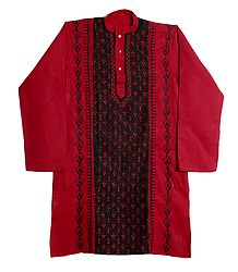 Kantha Embroidery on Mens Red Cotton Kurta