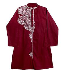 Embroidered Red Cotton Kurta for Men