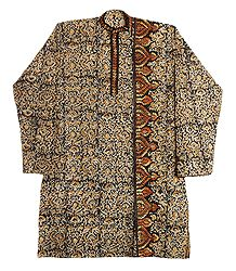 Kalamkari Cotton Kurta with Kantha Stitch for Men