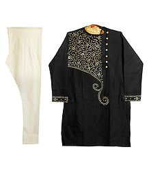 Embroidered Black Kurta with Off-White Churidar