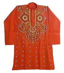 Saffron Cotton Kurta with Kantha Embroidery