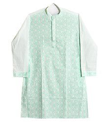 Green Embroidered White Kurta