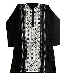 Kantha Stitch Black Cotton Kurta