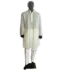 Green Weaved Design on White Kurta with White Churidar