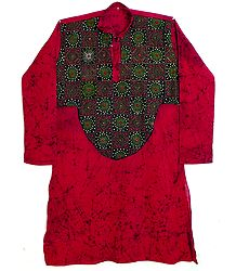 Dark Red Mens Kurta with Kantha Embroidery